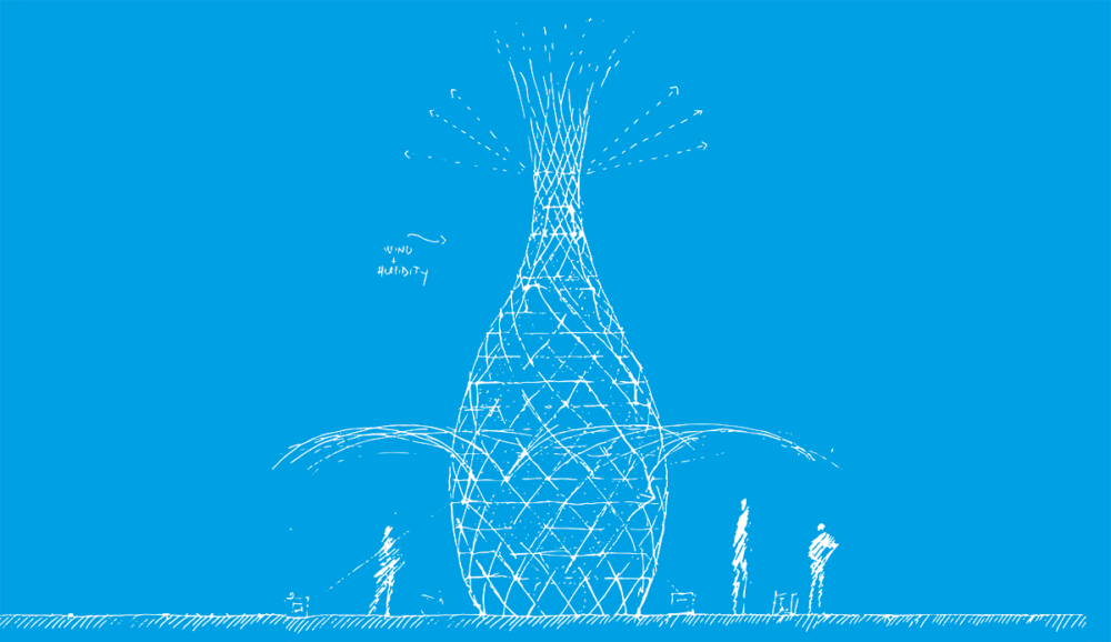 Concept blueprint for a Warka water tower, showing a pineapple-like lattice structure towering over 3 roughly drawn figures.